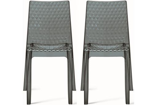 lot de 2 chaises design transparentes grises delphine design sur sofactory. Black Bedroom Furniture Sets. Home Design Ideas