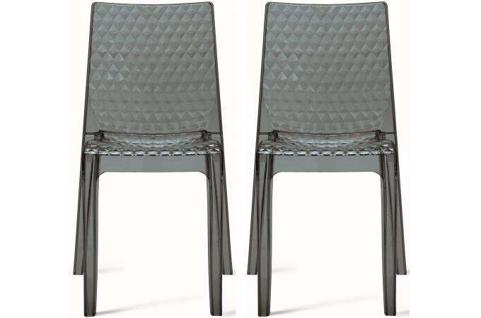 Design Grises Lot 2 Transparentes Chaises De Delphine 8OnywN0Pvm