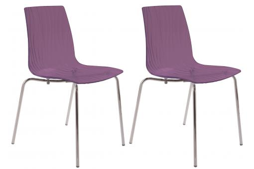 Lot de 2 Chaises Design Transparentes Violettes ARC