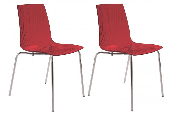 Lot de 2 Chaises Design Transparentes Rouges ARC SoFactory