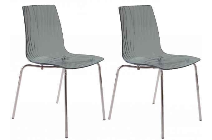 Lot de 2 Chaises Design Transparentes Grises ARC