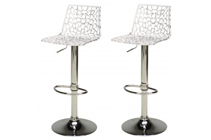 lot de 2 tabourets de bar design transparents smart - Tabouret Bar Design
