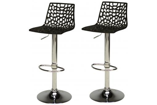 Lot de 2 Tabourets de Bar design Noirs SMART