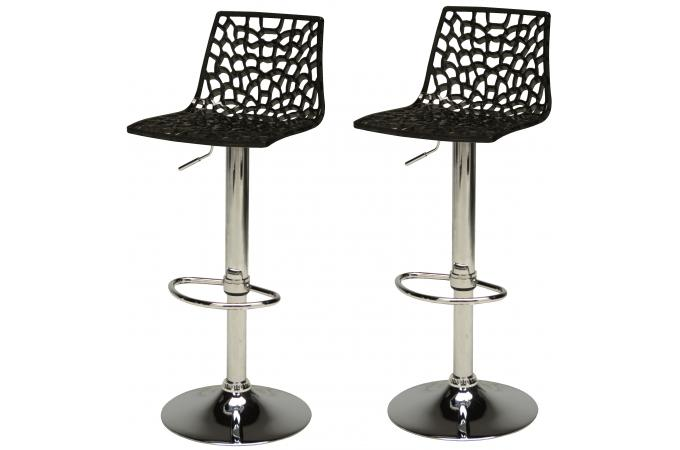 Lot de 2 tabourets de bar design noirs smart design pas for Housse de tabouret de bar