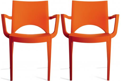 Lot de 2 Chaises Design Oranges TURIN