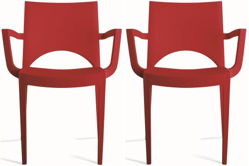 Lot de 2 Chaises Design Rouges TURIN SoFactory