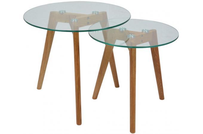 lot de 2 tables gigognes plateau verre transparent pm polaar design sur sofactory. Black Bedroom Furniture Sets. Home Design Ideas