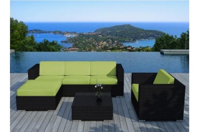 Salon de jardin en résine tressée noir et vert LAGON design sur ...
