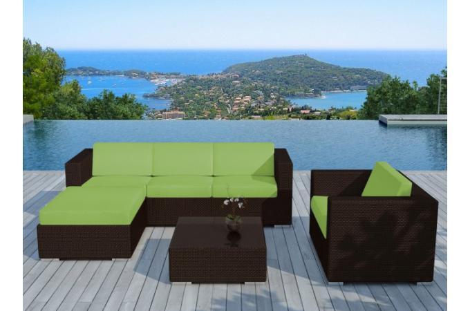Salon de jardin en résine tressée chocolat et vert LAGON design sur ...