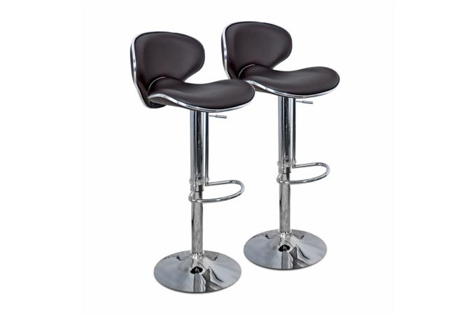 lot de 2 chaises de bar marron en acier et simili cuir design en direct de l 39 usine sur sofactory. Black Bedroom Furniture Sets. Home Design Ideas