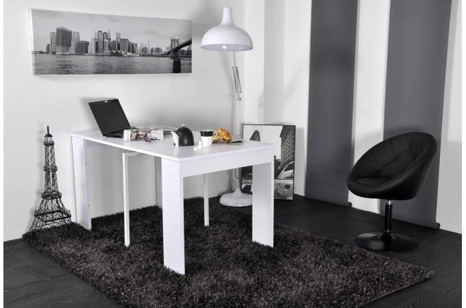 Console extensible 145 cm blanche houston design pas cher for Table etroite a rallonge