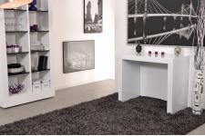 Table console Extensible en bois MDF Blanche CHARLOTTE XXL