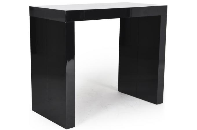 Table console extensible laqu e en bois noire charlotte xxl design pas cher s - Console laquee noire ...