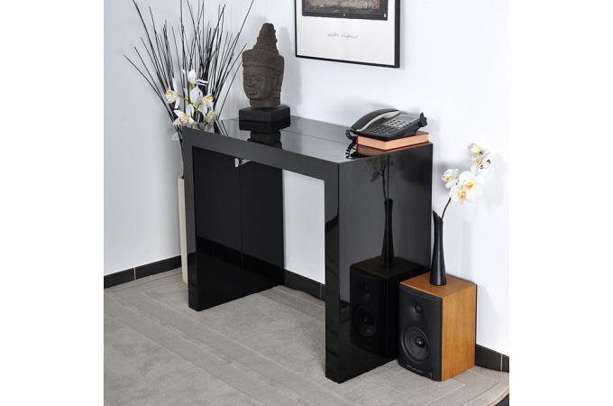 table console extensible laqu e en bois noire charlotte. Black Bedroom Furniture Sets. Home Design Ideas