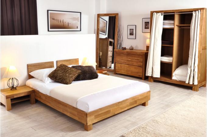lit 140x190 cm et 2 t tes de lit en ch ne massif casta design pas cher sur sofactory. Black Bedroom Furniture Sets. Home Design Ideas