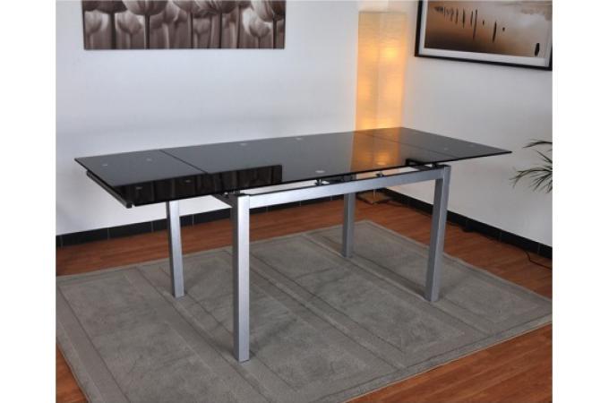 Table repas extensible en verre et en acier noir et - Table verre noir extensible ...