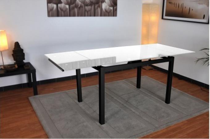 table repas extensible en verre et en acier noir et blanc babel design pas cher sur sofactory. Black Bedroom Furniture Sets. Home Design Ideas