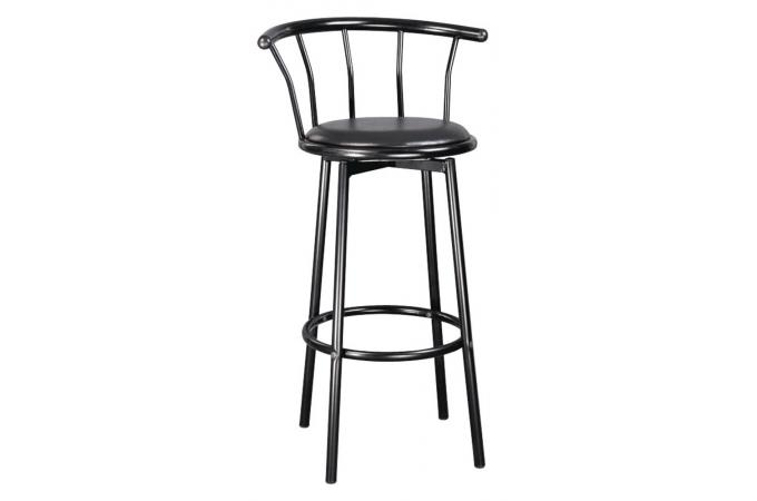 tabouret de bar haut en acier et en bois noir brice design sur sofactory. Black Bedroom Furniture Sets. Home Design Ideas