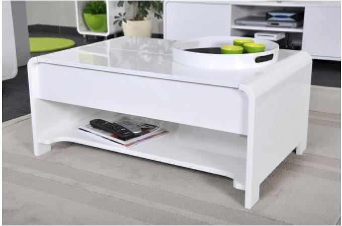 table basse en imitation bois blanche plateau relevable fiona design pas cher sur sofactory. Black Bedroom Furniture Sets. Home Design Ideas