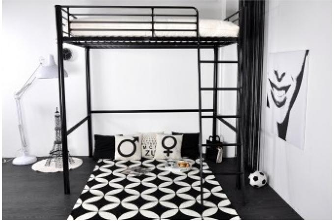 lit mezzanine 140x190 en acier noir rica. Black Bedroom Furniture Sets. Home Design Ideas