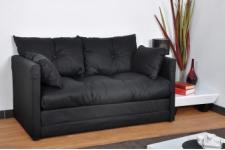 Canapé Convertible 2 places en Polyester Noir FLORENCE