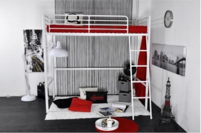 lit mezzanine 90x190 en acier blanc rica design pas cher sur sofactory. Black Bedroom Furniture Sets. Home Design Ideas