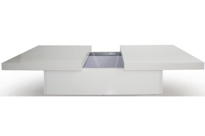 table basse coulissante blanche madrid design sur sofactory. Black Bedroom Furniture Sets. Home Design Ideas