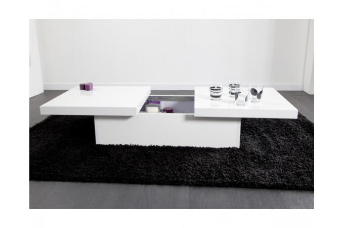table basse coulissante blanche madrid design sur sofactory. Black Bedroom Furniture Sets. Home Design Ideas