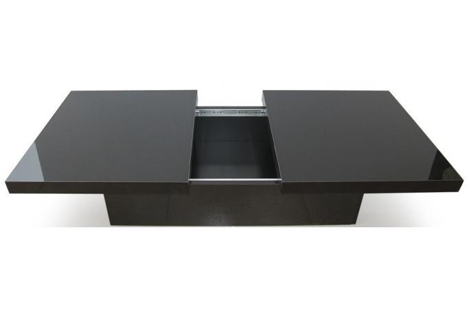 Table basse coulissante noire madrid design sur sofactory - Table basse scandinave noire ...