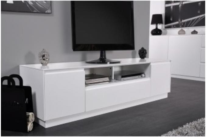 Meuble tv laqu blanc greenwich design pas cher sur sofactory - Meuble tv design blanc laque pas cher ...