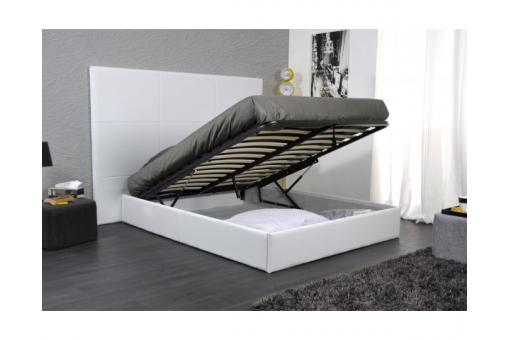 lit coffre 160x200 simili cuir blanc t te de lit kim. Black Bedroom Furniture Sets. Home Design Ideas