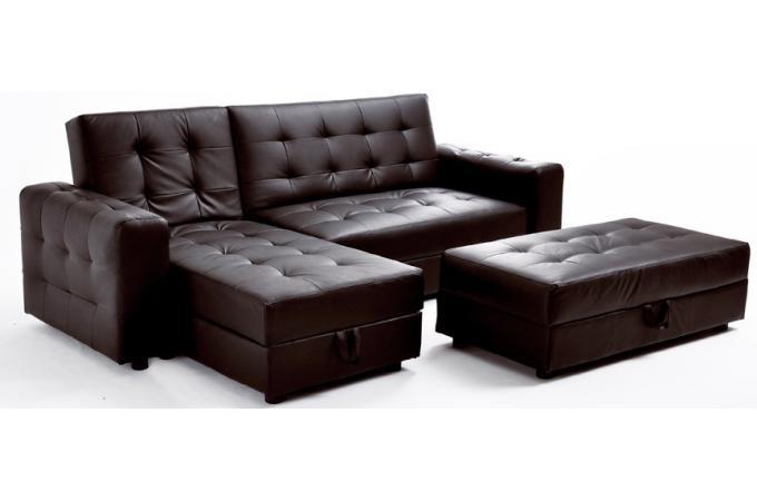 canap d 39 angle convertible en simili cuir marron avec coffre stona design pas cher sur sofactory. Black Bedroom Furniture Sets. Home Design Ideas