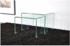 Lot de 2 tables basses gigogne en verre OTTAWA