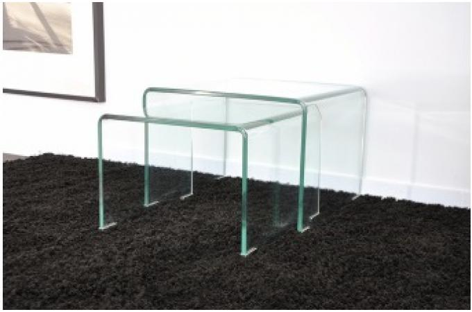 lot de 2 tables basses gigogne en verre ottawa design sur sofactory. Black Bedroom Furniture Sets. Home Design Ideas