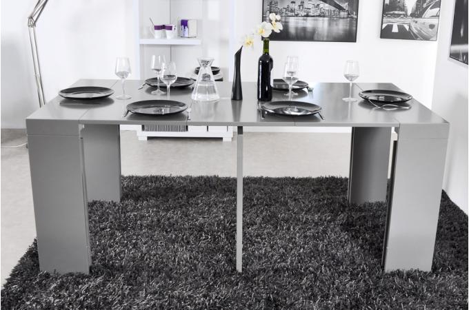 console extensible 3 allonges 225 cm grise charlotte. Black Bedroom Furniture Sets. Home Design Ideas