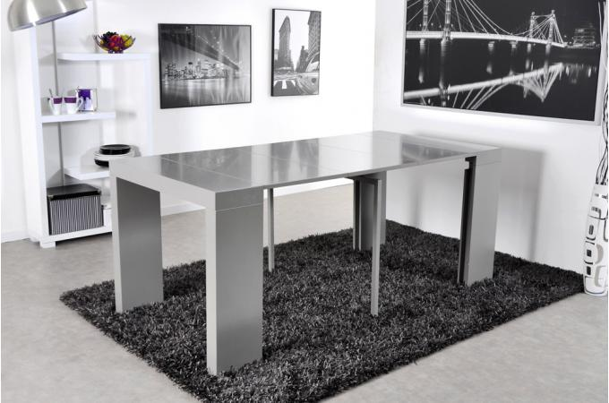 Console extensible 3 allonges 225 cm grise charlotte for Table console extensible grise