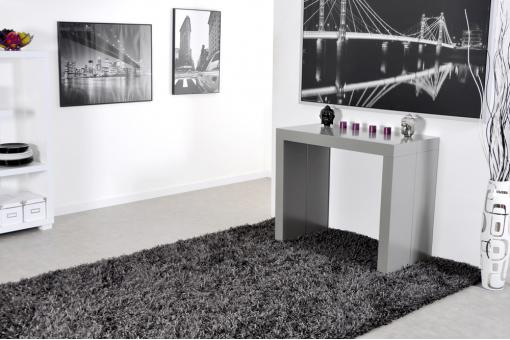 Console extensible 3 allonges 225 cm Grise CHARLOTTE