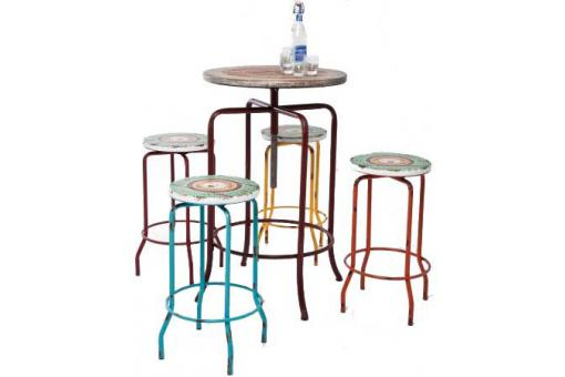 Ensemble bar multicolore en bois SETTE