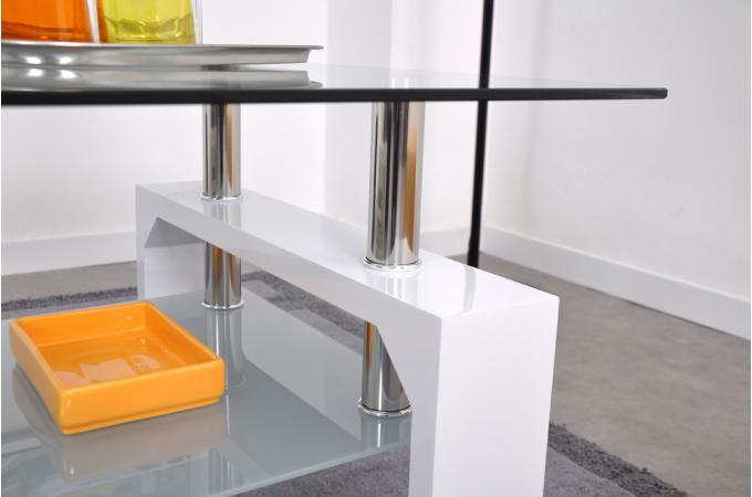 table basse en verre pied en bois blanc gloria design sur. Black Bedroom Furniture Sets. Home Design Ideas
