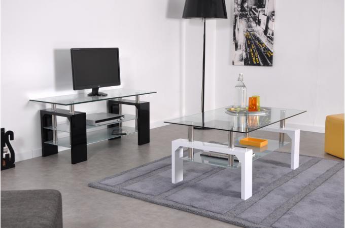 Meuble tv en verre et pieds laqu s gloria design pas cher - Meuble tv en verre design ...