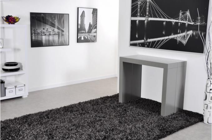 console extensible grise 225cm mat charlotte xxl design. Black Bedroom Furniture Sets. Home Design Ideas