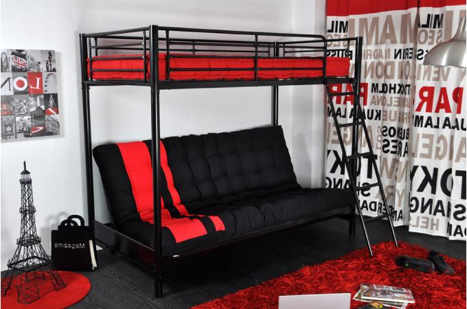 lit mezzanine 90 avec banquette noir tor design pas cher sur sofactory. Black Bedroom Furniture Sets. Home Design Ideas