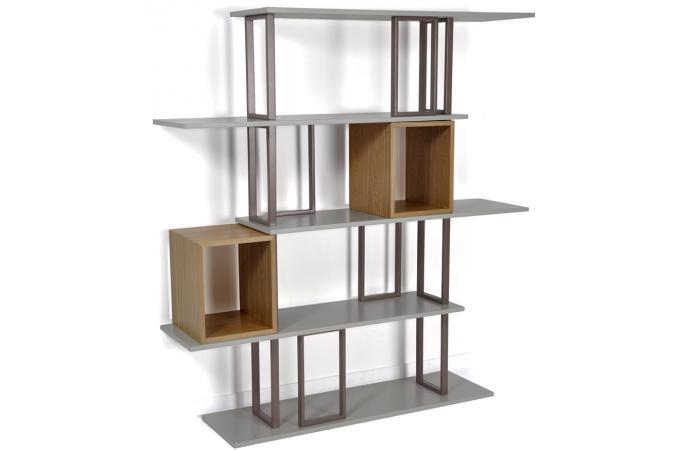 Une biblioth que en mdf et en acier grise et naturelle meyer design pas cher - Construire une bibliotheque en mdf ...