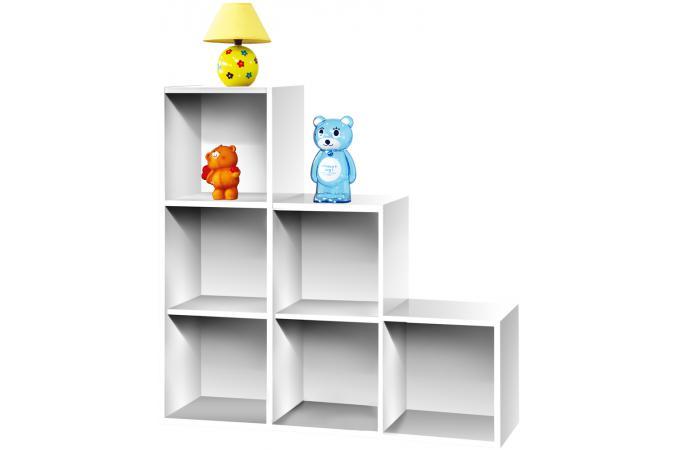 Escalier 6 cases en bois Blanc MOLLY design sur SoFactory