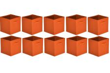 Lot de 10 Paniers Tiroir Tissu Orange MONICA