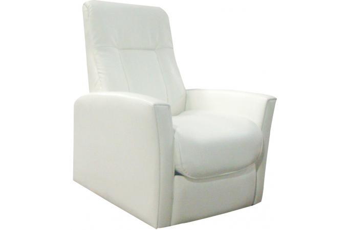 fauteuil relax m canique simili cuir blanc rilax. Black Bedroom Furniture Sets. Home Design Ideas
