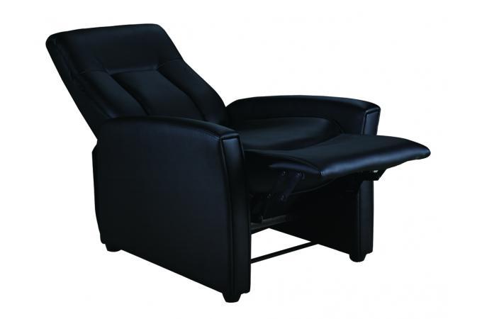 fauteuil relax m canique simili noir rilax design sur sofactory. Black Bedroom Furniture Sets. Home Design Ideas