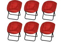 Lot de 6 fauteuils en polyester rouges pliants SHINE