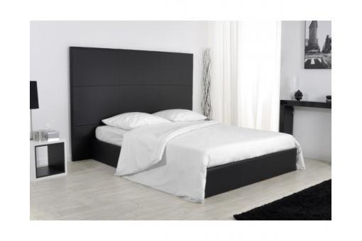 Lit coffre 180x200 simili cuir noir sommier kim design pas cher sur sofactory - Lit coffre noir ...