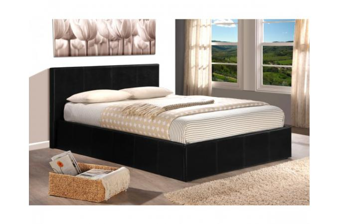 lit coffre 140 x 190 noir avec sommier john design sur sofactory. Black Bedroom Furniture Sets. Home Design Ideas